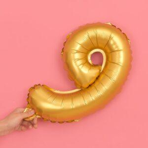 Folien Ballon Ziffer 9 40cm Gold