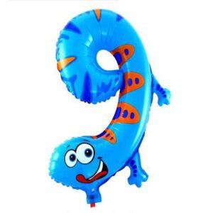 Folien Ballon Ziffer 9 40cm Tier