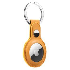 Kunstleder Schlüsselanhänger Halterung für Apple AirTag Gelb