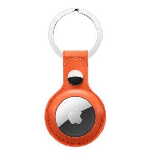 Kunstleder Schlüsselanhänger Halterung für Apple AirTag Orange