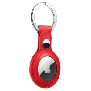 Kunstleder Schlüsselanhänger Halterung für Apple AirTag Rot