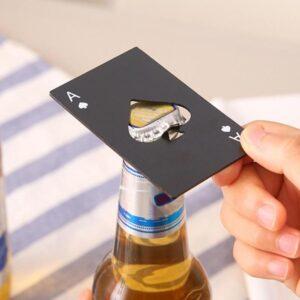 Pokerkarte Flaschenöffner Ass aus Metall