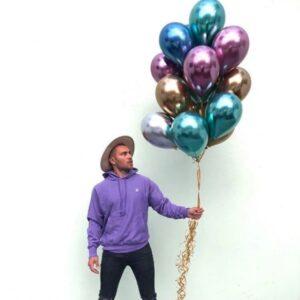50 STK Metall Glanz Optik Latex Ballon 30cm Blau