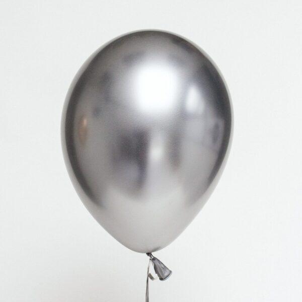 50 STK Metall Glanz Optik Latex Ballon 30cm Silber