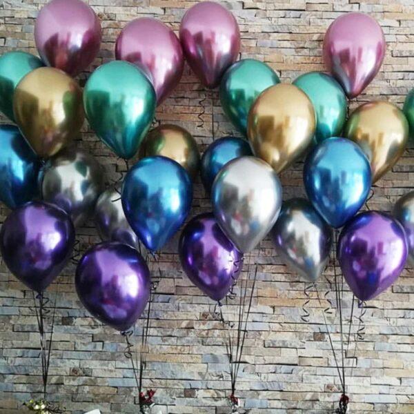 50 STK Metall Glanz Optik Latex Ballon 30cm Violett