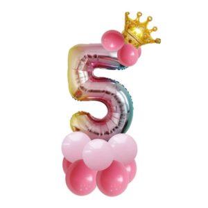 Folien Ballon Set mit Krone Ziffer 5 80cm Pink