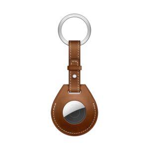 Kunstleder Schlüsselanhänger Halterung für Apple AirTag Braun Metallring