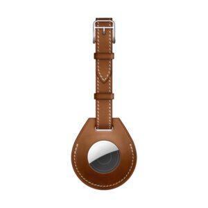 Kunstleder Schlüsselanhänger Halterung für Apple AirTag Braun kleine Schlaufe