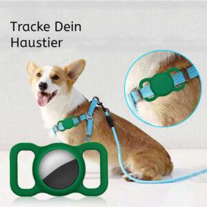 Silikon Hunde und Katzen Halsband Halterung für Apple AirTag Grün