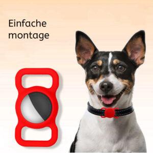 Silikon Hunde und Katzen Halsband Halterung für Apple AirTag Rot