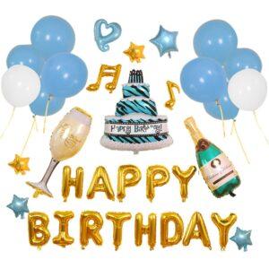 26 in 1 Happy Birthday Ballon Champagner mit Torte Set