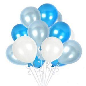 45 in 1 Metall Glanz Optik Latex Ballon 30cm Blau Weiss