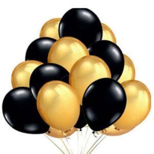 45 in 1 Metall Glanz Optik Latex Ballon 30cm Gold Schwarz