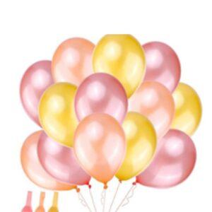 45 in 1 Metall Glanz Optik Latex Ballon 30cm Pink Gold