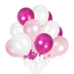45 in 1 Metall Glanz Optik Latex Ballon 30cm Pink Weiss