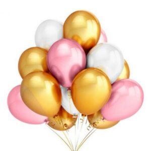 45 in 1 Metall Glanz Optik Latex Ballon 30cm Pink Weiss Gold
