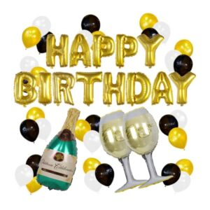 49 in 1 Happy Birthday XXL Ballon Champagner Set