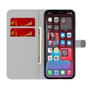 iPhone 13 Pro Buch Etui Tasche mit Kartenfach Art Grün