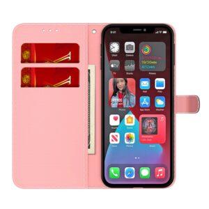 iPhone 13 Pro Buch Etui Tasche mit Kartenfach Art Pink Purple