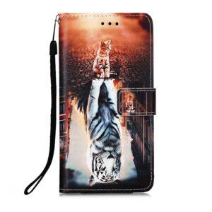 iPhone 13 Pro Max Buch Etui Tasche mit Kartenfach Katze Tiger Spiegel