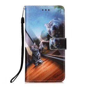iPhone 13 Pro Max Buch Etui Tasche mit Kartenfach Katzenspiegel