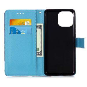 iPhone 13 Pro Max Buch Etui Tasche mit Kartenfach Mandala Blau