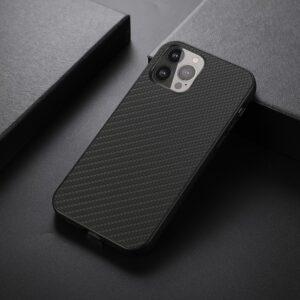 iPhone 13 Pro Max Slim Gummi Hülle TPU Carbon Optik Schwarz
