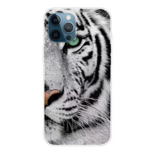 iPhone 13 Pro Max Super Slim Gummi Schutzhülle Weisser Tiger