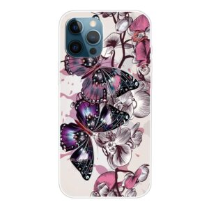 iPhone 13 Pro Max Super Slim Gummi Schutzhülle pinker Schmetterling
