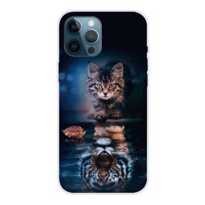 iPhone 13 Pro Super Slim Gummi Schutzhülle Katzenspiegel