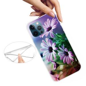 iPhone 13 Pro Super Slim Gummi Schutzhülle Violette Blumen