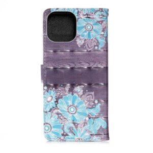 iPhone 13 Buch Etui Tasche mit Kartenfach Retro Blüten