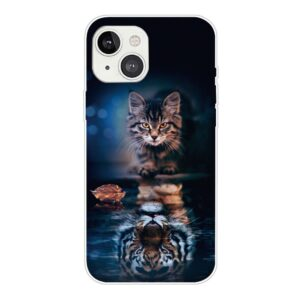 iPhone 13 Super Slim Gummi Schutzhülle Katzenspiegel
