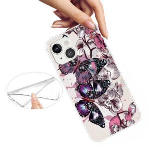 iPhone 13 Super Slim Gummi Schutzhülle pinker Schmetterling